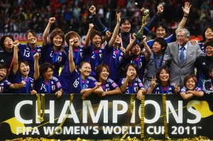 Team Japan celebrates FIFA Women World Cup 2011 Gold