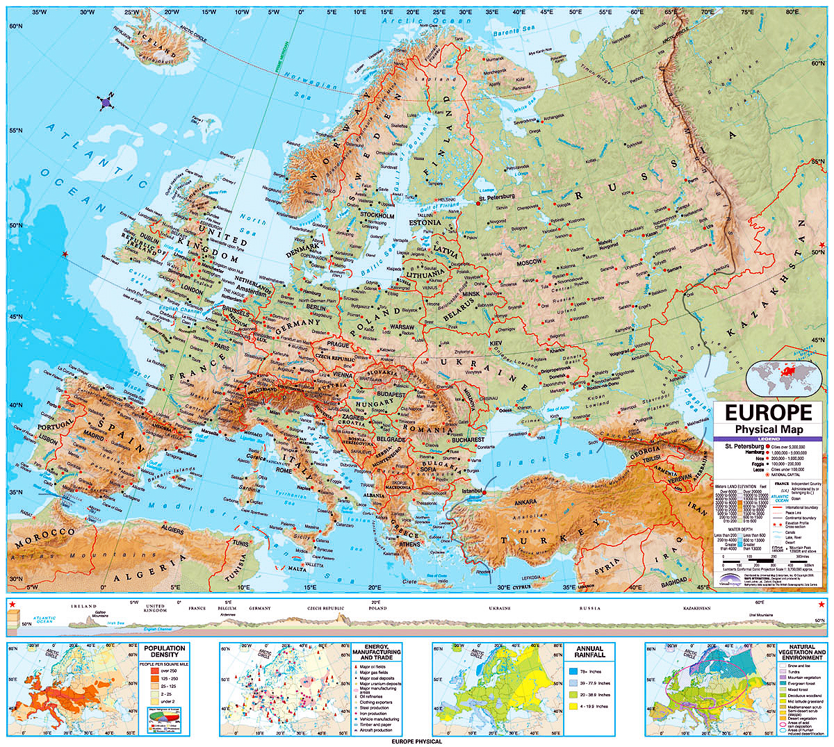 High Resolution Map Of Europe.Memographer Travel Photo Journal