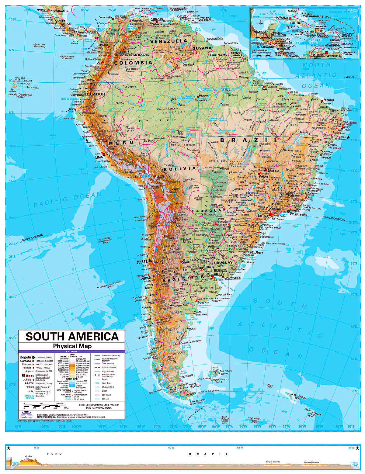 Physical Map Of South America For Kids