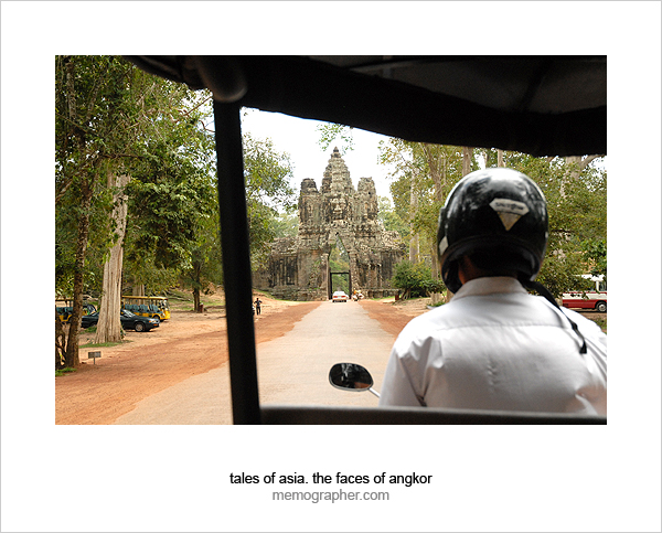 Tuk Tuk reaches the gates of Angkor Thom, Cambodia