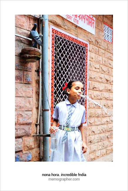 Rajasthani Schoolgirl. Blue City, Jodhpur, Rajasthan, India.