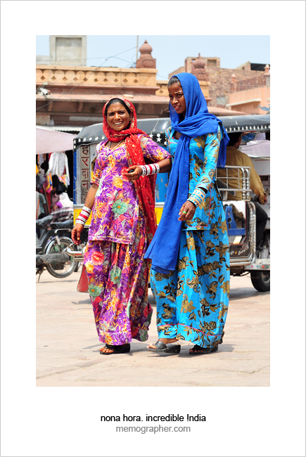 Rajasthani Women. Blue City, Jodhpur, Rajasthan, India.