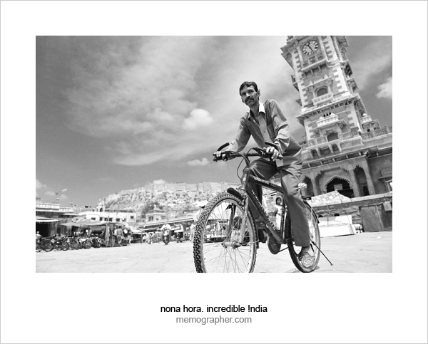 Rajasthani Man on Bicycle. Clock Tower Market. Jodhpur, Rajasthan, India.