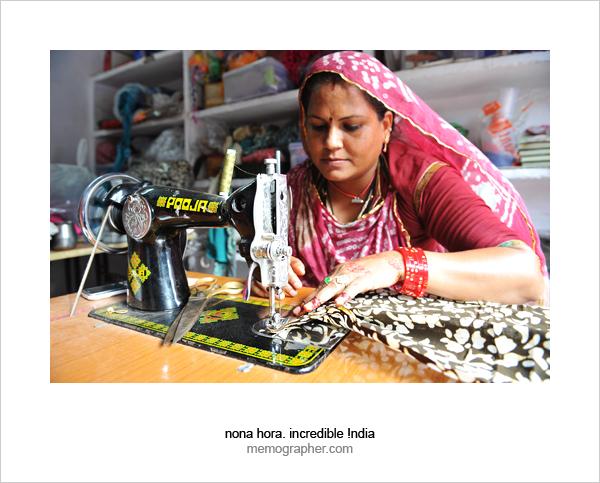 Woman in Sambhali Trust Sewing Center, Jodhpur, Rajasthan, India