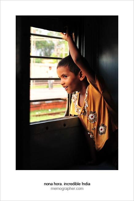Indian Girl Sanya. Jaipur - Agra Marudhar Express Train, India