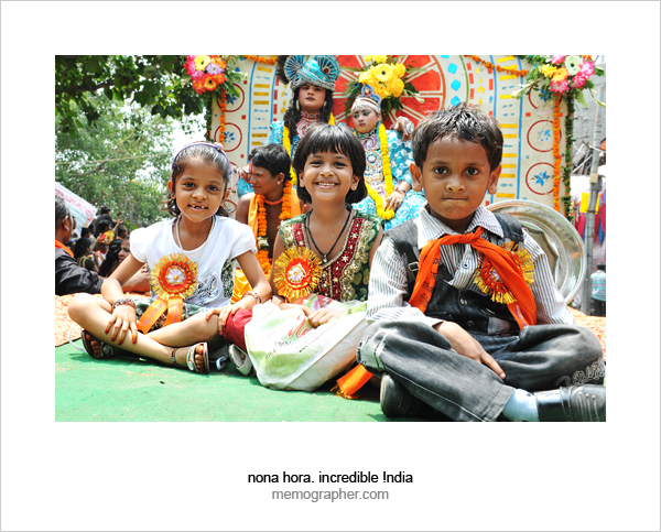 Indian Kids Celebrate Festival. Delhi, India