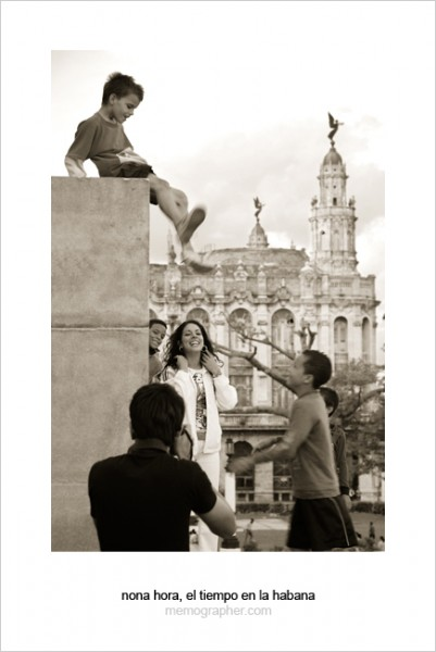 Tourist Girl and Cuban Boys. Havana, Cuba
