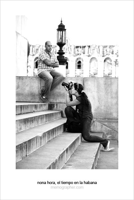 Girl Tourist Photographer in Havana, Cuba