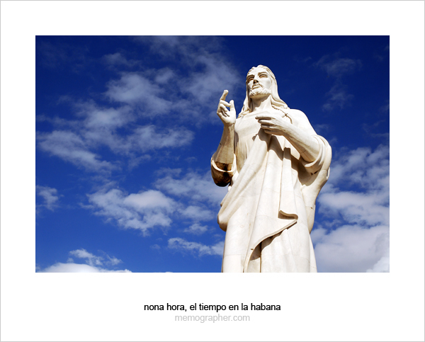 Marble statue of Christ blesses the City of Havana, Cuba