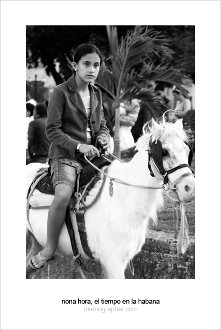 A Cuban Girl on Pony Horse. Havana, Cuba
