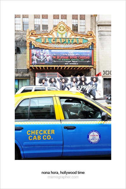 Checker Cab, Express Ad, El Capitan. Hollywood, California