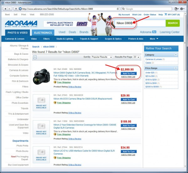 "Search for ""Nikon D800"" (How to order Nikon D800 and get Cash Back)"