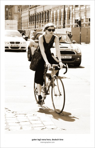 Girl on Bicycle. Berlin, Germany