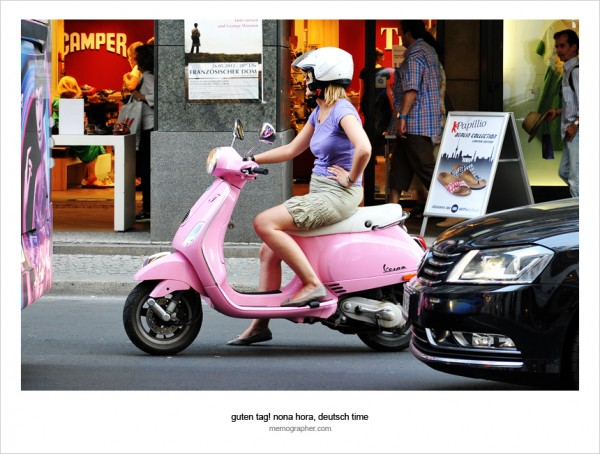 Girl on Pink Vespa. Berlin, Germany