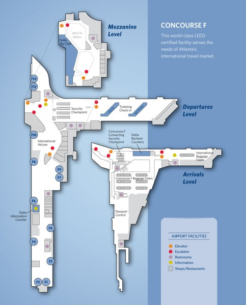 Atlanta Maynard H. Jackson Jr. International Airport Terminal Map (Delta.com)