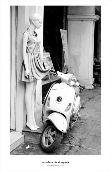 Mannequin and Vespa Scooter. Hanoi, Vietnam