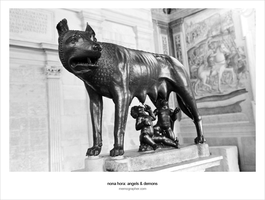 Romulus, Remus and Lupa (a she-wolf)