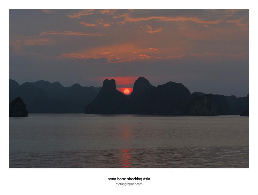 Sunset in Halong Bay. Vietnam