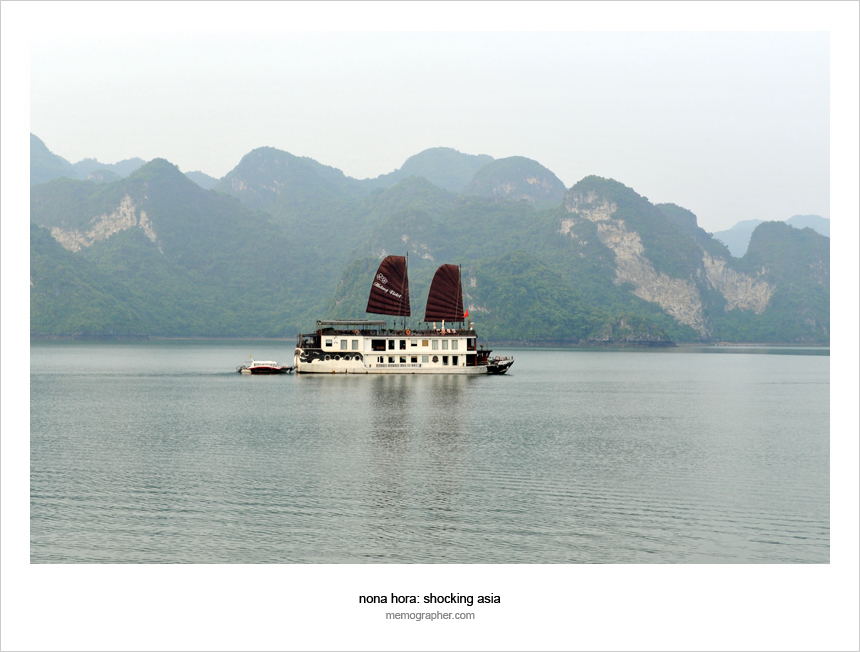 Junk under full Sails. Ha Long Bay, Vietnam