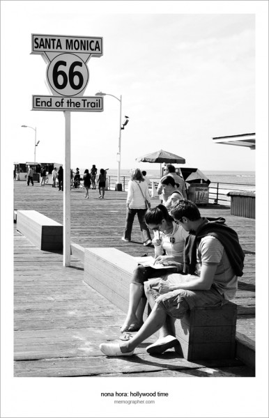 """End of the Trail"" sign. Santa Monica pier, California"