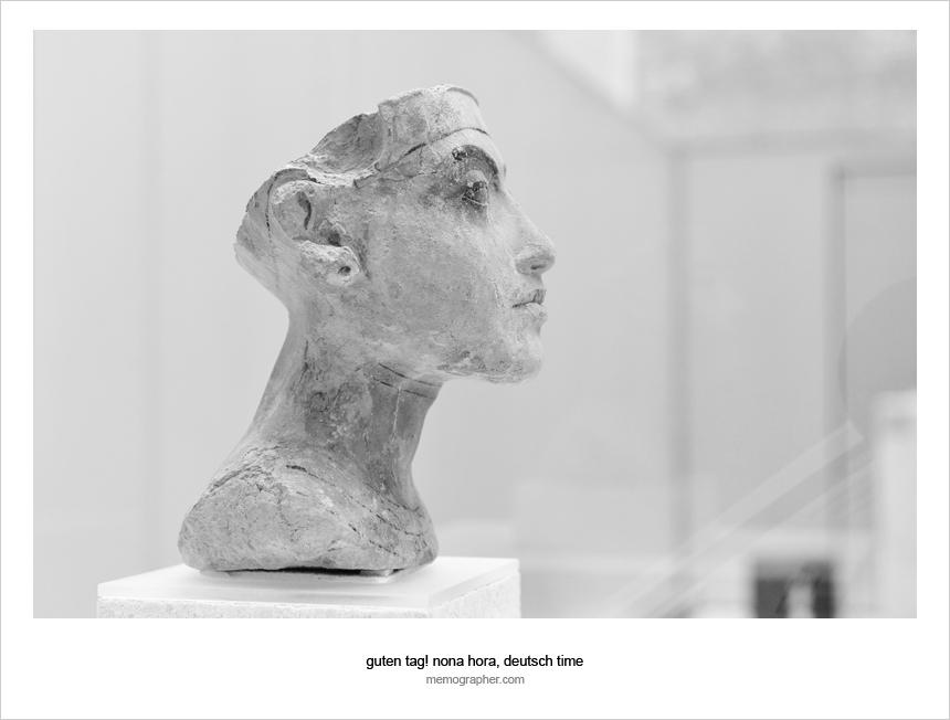Bust of Queen Nefertiti, from studio of Thutmose, Amarna, Egypt, plaster, h: NA, (Dynasty XVIII, New Kingdom), c. 1,348-1,335 B.C. (Museum of Art, Egyptian Museum, Berlin)