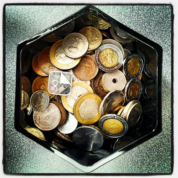 On My Shelves. A Treasure Chest with Foreign Coins