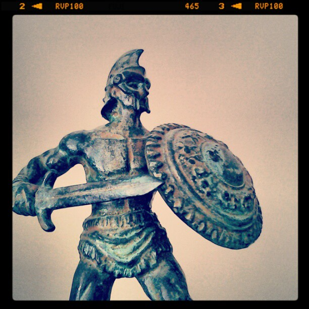 On My Shelves. A Bring-back from Rome, Italy. Bronze Gladiator