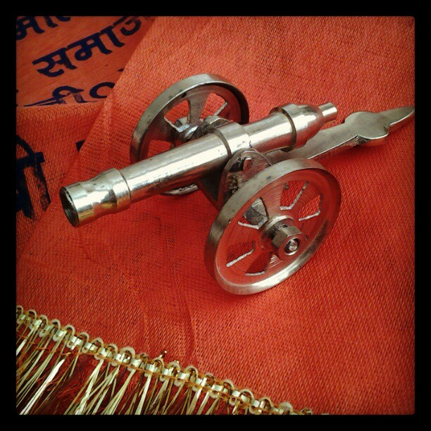 On My Shelves. A Bring-back from India. A Cannon