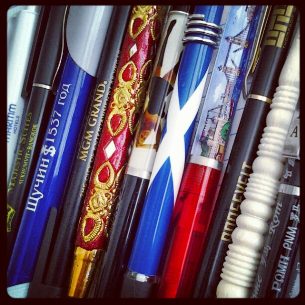 On My Shelves. Bring-back Pens from India, France, Scotland, England and other places