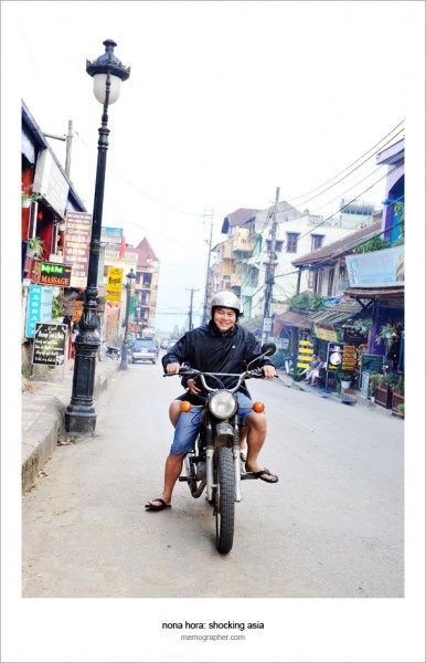 Tourist is riding Minsk motorcycle in Sapa Vietnam