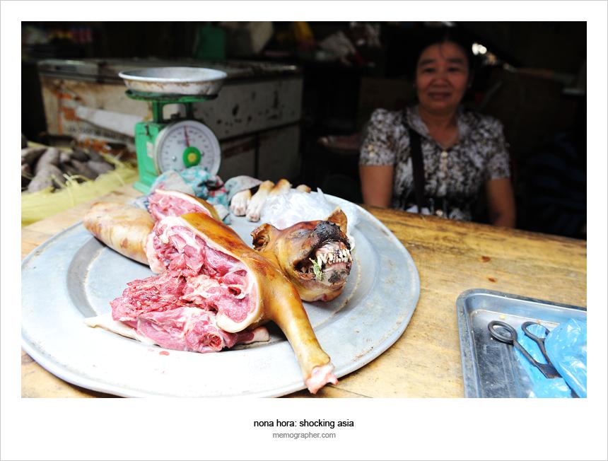 Dog meat for sale on Market in Sapa Vietnam