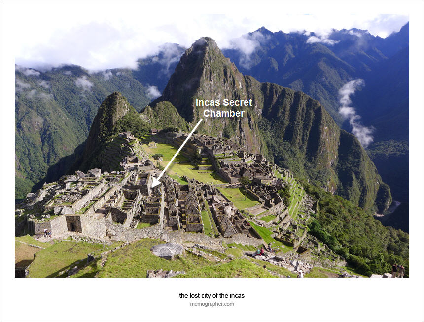Entrance to the Secret Chamber of Machu Picchu. Click on image to view without markings.