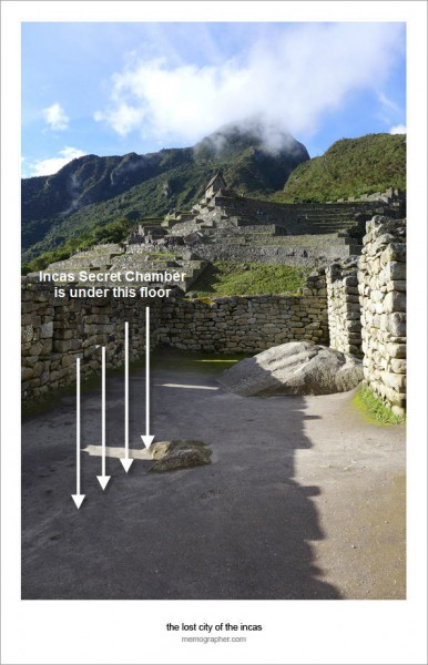 Incas Secret Chamber at Machu Picchu. Click on image to view without markings.