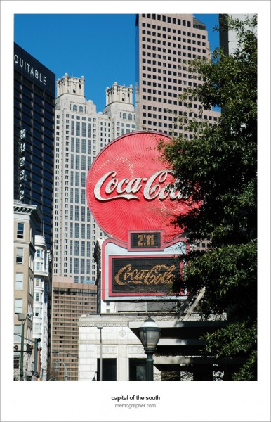 Coca-Cola neon sign. Five Points, Atlanta, Georgia