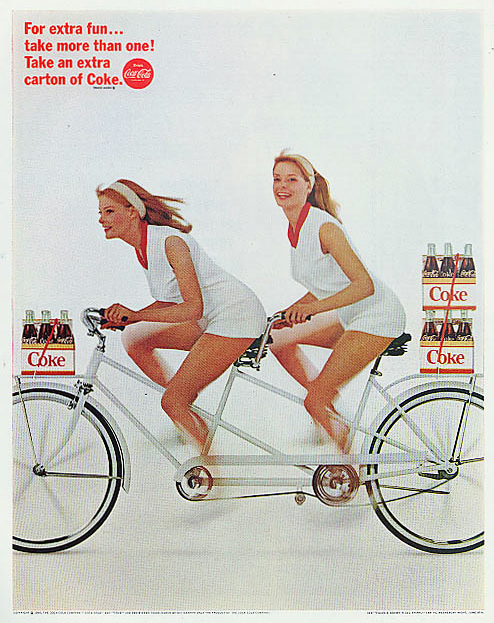 Coca-Cola Take Two Ad with Tandem Bike and Twin Girls