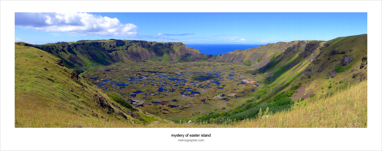 Crater of volcano Rano Kau. Easter Island, Chile
