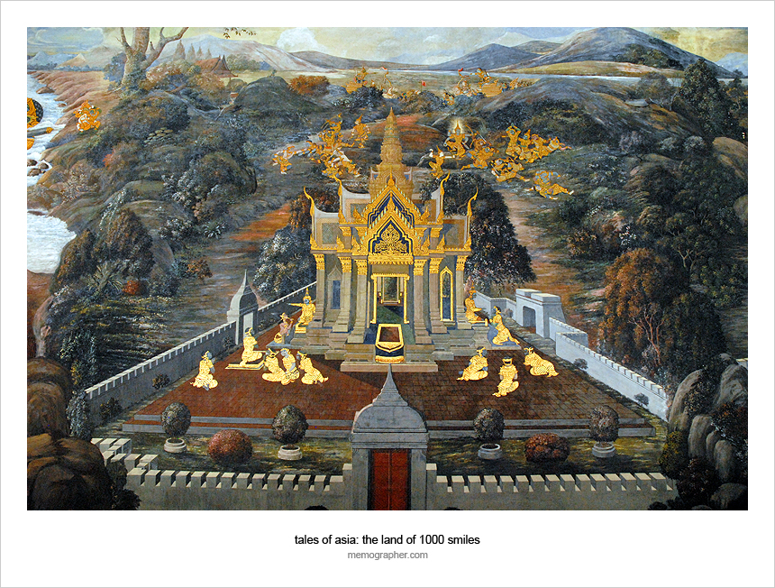 Thai Buddhist Art Gold Paintings in The Grand Palace. Bangkok, Thailand