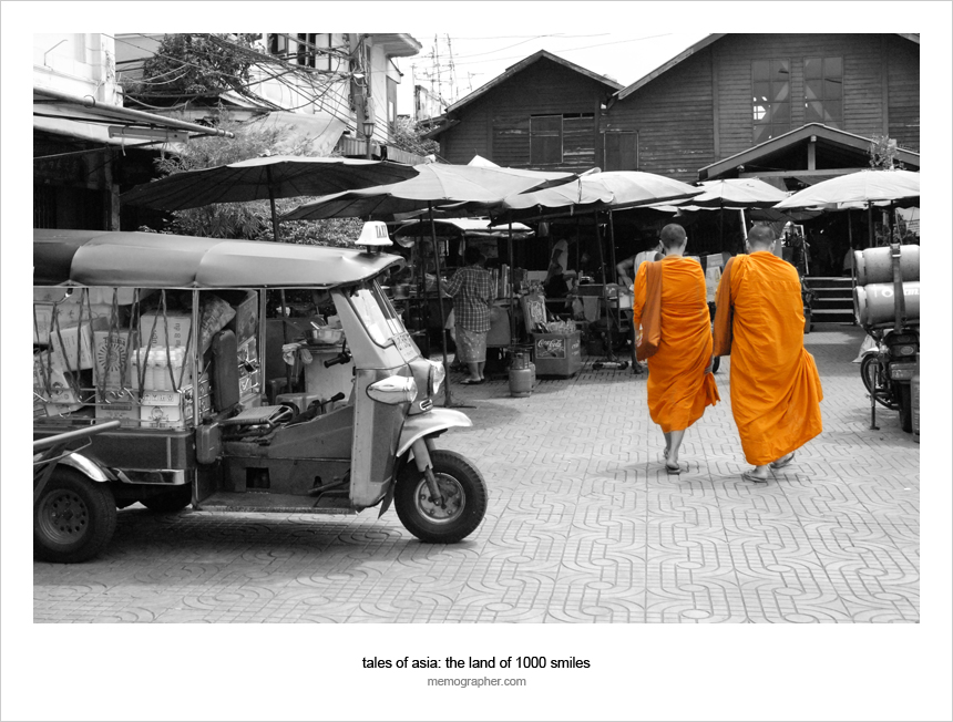 Monks on the streets of Bangkok, Thailand