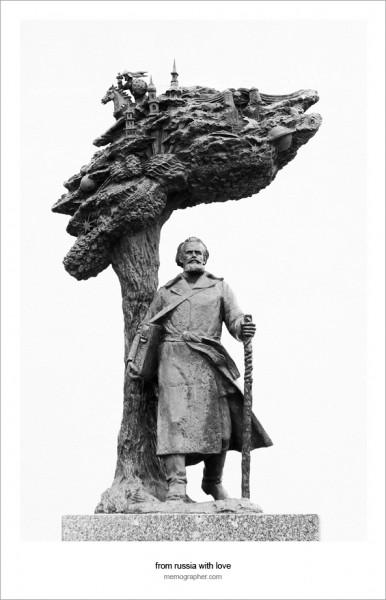 Bronze Statue of Yazep Drazdovich. Minsk, Belarus
