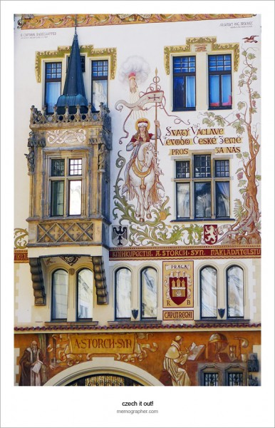 Mural of St. Wenceslas on Horseback. Storch House, Old Town Square, Prague, Czech Republic