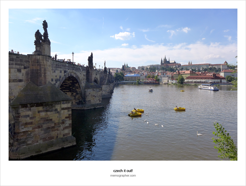 The Charles Bridge (Karlův most). Vltava river, Prague, Czech Republic. Click on image to vew black-and-white version