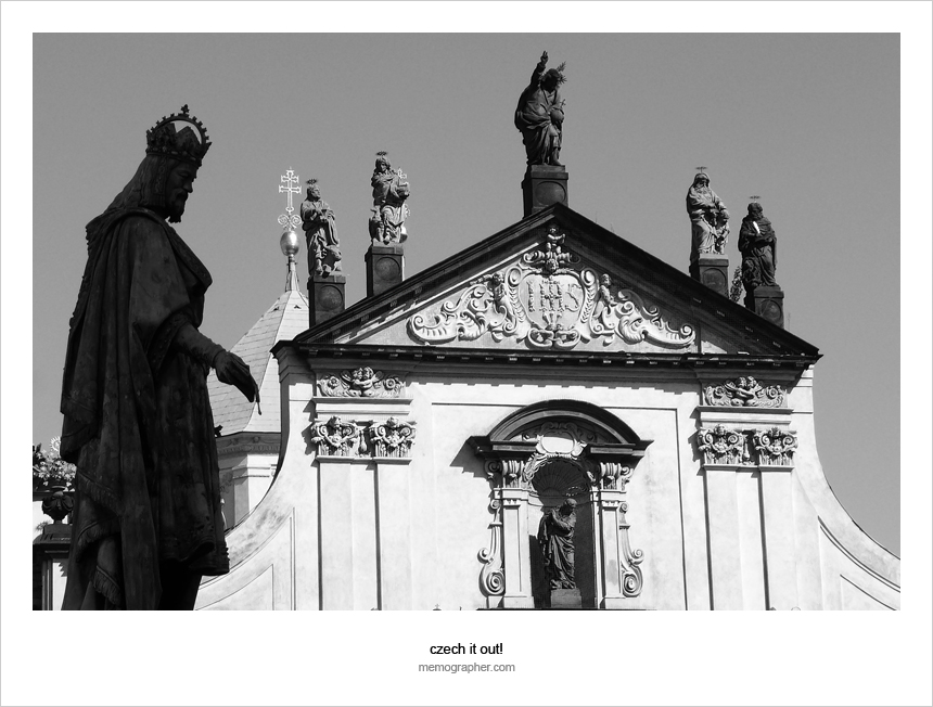 Statues of Charles IV and Knights of the Cross on St. Francis Church