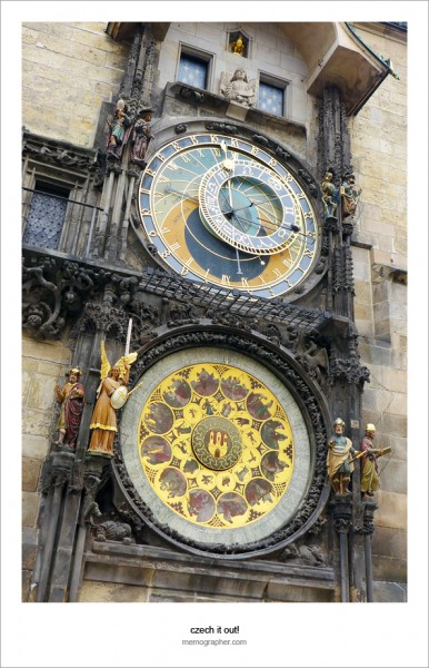 The Prague Astronomical Clock, the oldest working clock in the World. Click on image to view black-and-white version