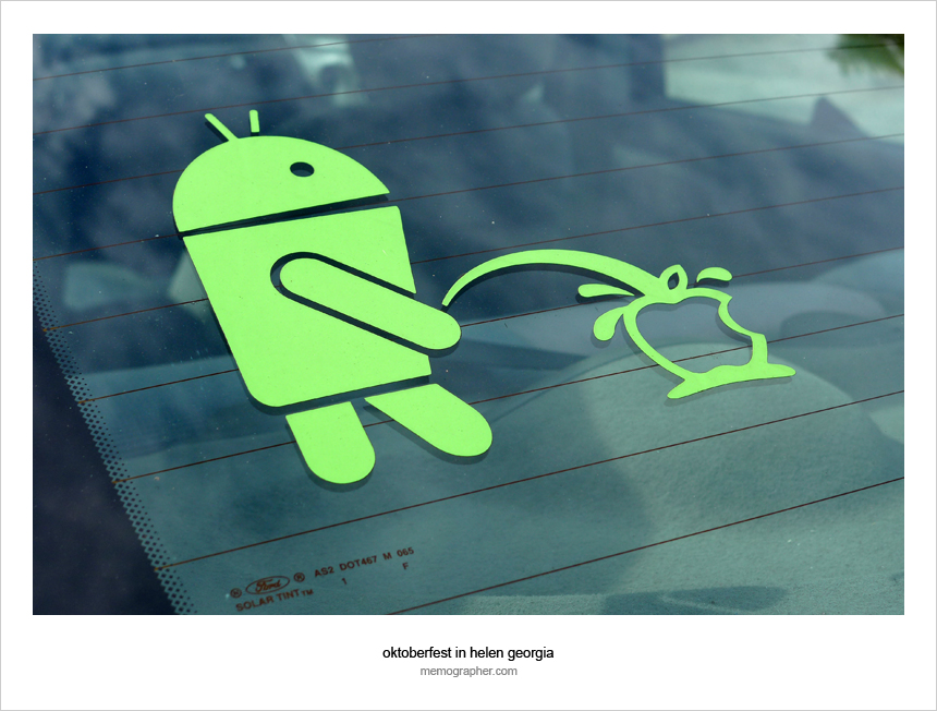 Android vs iPhone car sticker :)