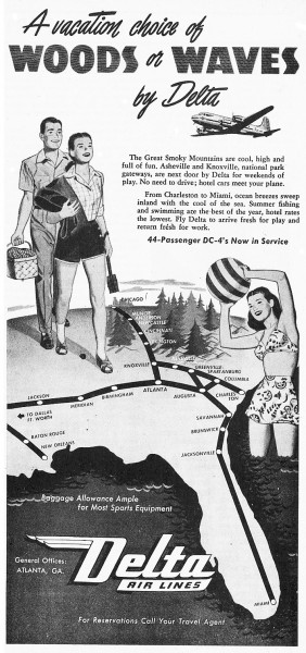 "1946 Delta Airlines ""A Vacation Choice Of Wood Or Waves"" Print Ad"