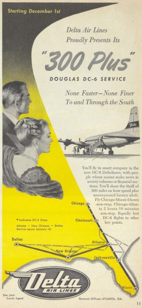 "1948 ""300 Plus"" Delta Air Lines Magazine Ad"