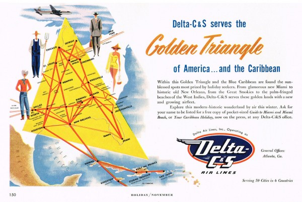 "1953 Delta C&S Airlines America-Caribbean ""Golden Triangle"" Magazine Ad"