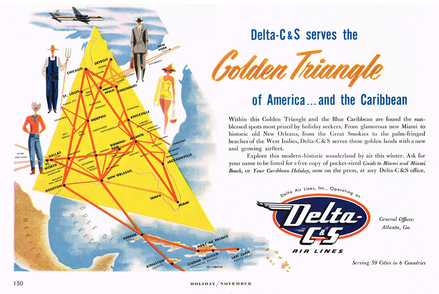 Major Airline Carrier Red Triangle Logo 1953 delta c&s airlines