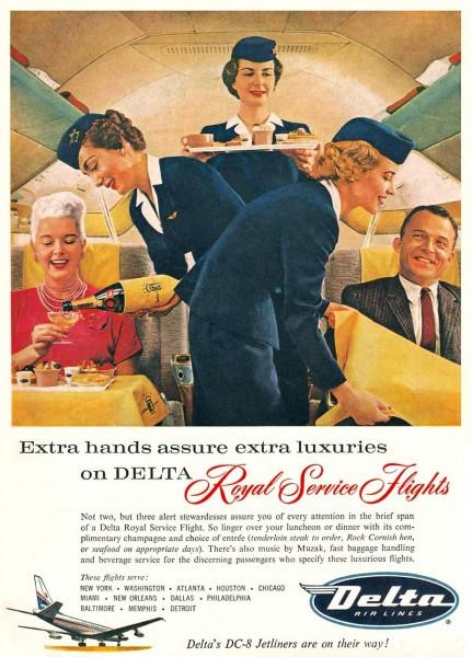 "1959 Delta Air Lines DC-8 ""Royal Service Flights"" Stewardesses Magazine Ad"