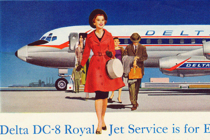 "1959 Delta Airlines DC-8 ""Royal-Jet-Service"" Travel Magazine Ad"